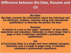 difference between biodata resume and cv